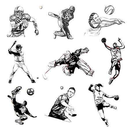 players: sports illustration on white background