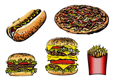 Fast food set vector illustrations