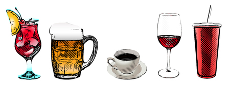 chianti: drinks set vector illustrations
