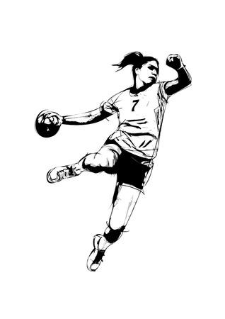 terrain de handball: illustration de joueur de handball Illustration