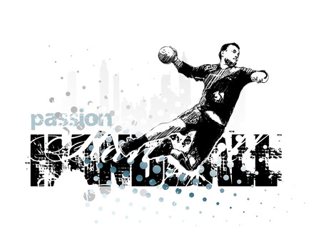 terrain de handball: illustration de joueur de handball Illustration