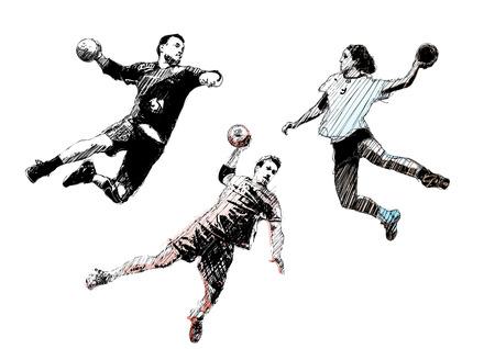 terrain de handball: trio de handball