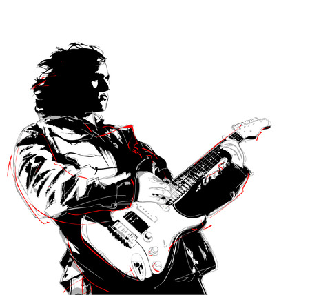 illustration of guitarist Stock Illustratie