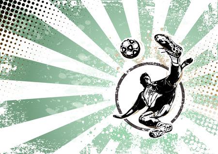 illustratie van voetbal playar op grungy achtergrond Stock Illustratie