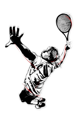 tennis serve: illustration of tennis serve