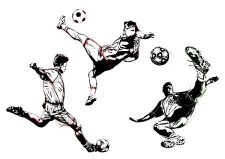 illustratie van de drie voetballers Stock Illustratie