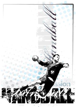 terrain de handball: handball affiche de vecteur fond