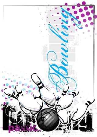 bowling vector illustratie op grungy achtergrond