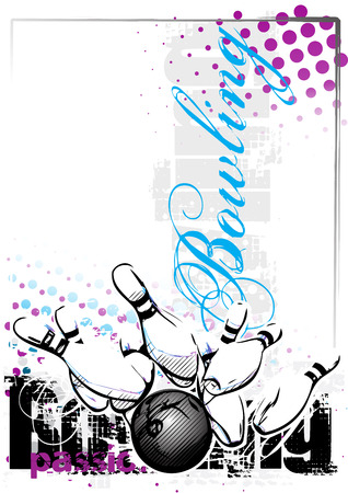 bowling vector illustration on grungy background Illustration
