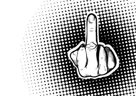 swear: aggressive hand symbol on dots poster backgournd
