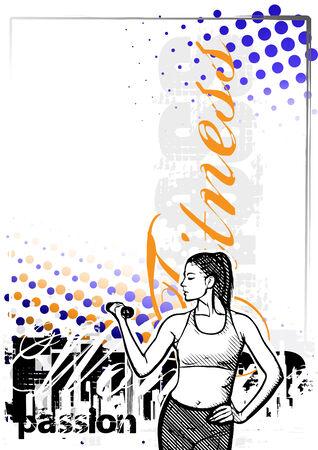 dumbell: illustrazione di fitness donna vettoriale su sfondo grungy Vettoriali
