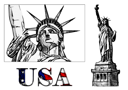 statue of liberty: freedom statue illustration on white