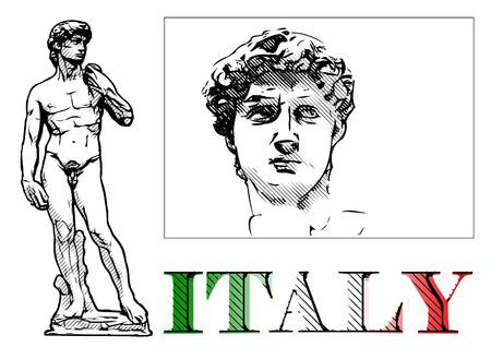 david statue vector illustration on white  イラスト・ベクター素材