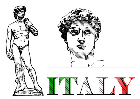florence   italy: david statue vector illustration on white Illustration