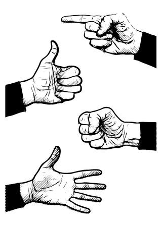 okey: hand symbols vector illustrations on white Illustration