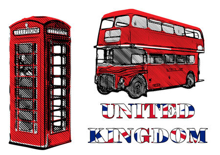 payphone: double decker and red telephone box vector illustration Illustration