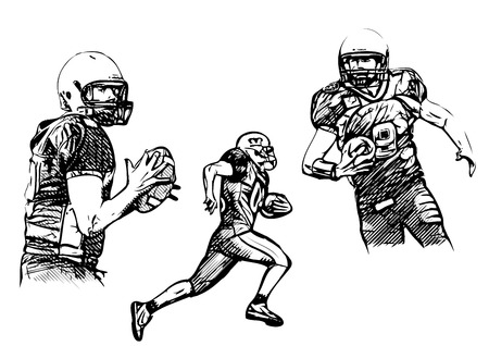 american football players vector illustrations