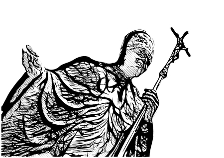pope john paul the second vector illustration Illustration