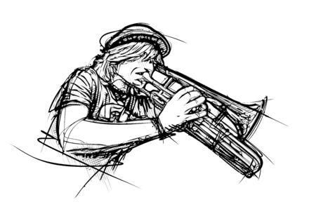 trumpeter vector illustration Illusztráció