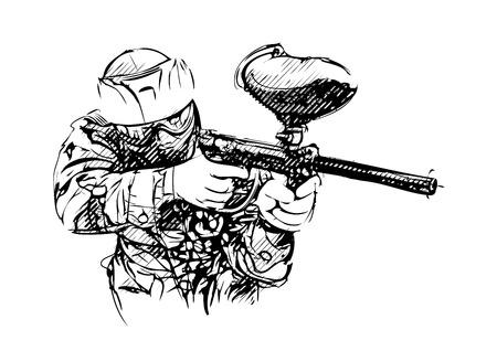 paint gun: Paintball player vector Illustration on white Illustration