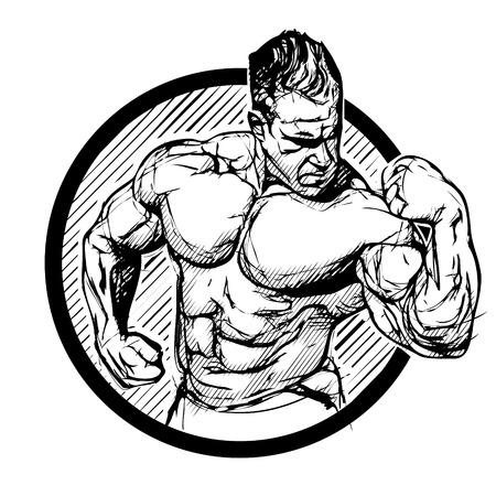 saludable logo: ilustración vectorial culturista en blanco