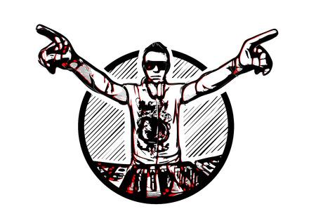 Disc Jockey in the Ring vector illustration Illustration