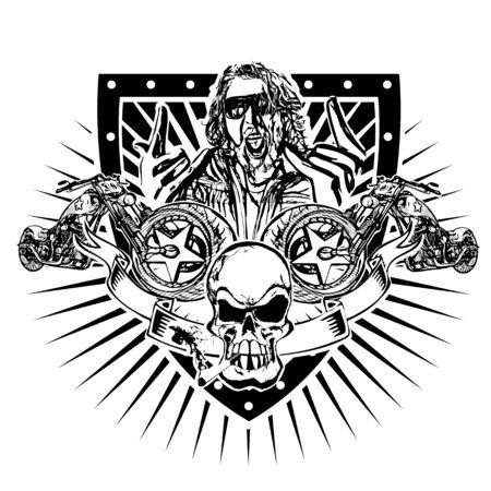 motorbike emblem illustration