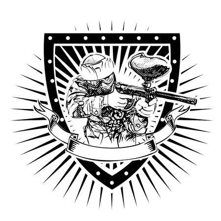 Paintball player on the shield Illusztráció