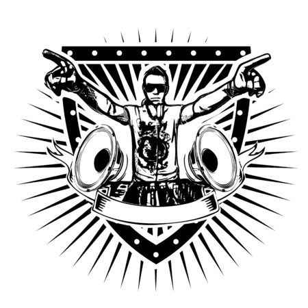 disk jockey: dj shield illustration