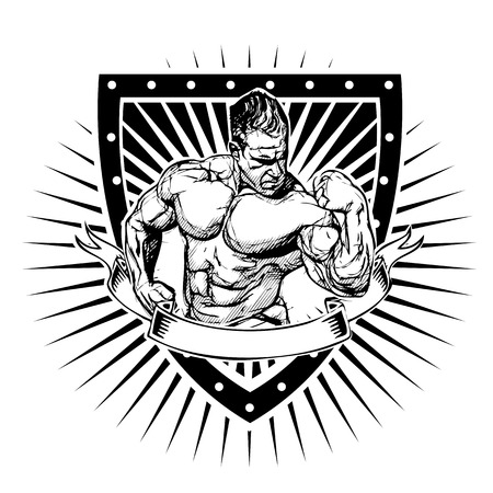 bodybuilder illustration on shield