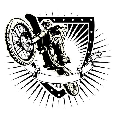 motocross illustration on the shield