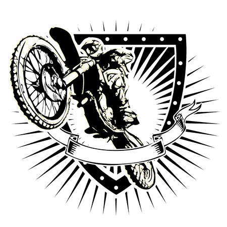 motocross riders: motocross illustration on the shield
