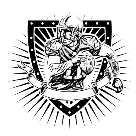american football player vector illustration on the  shield