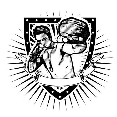 fighter vector illustration on the shield Illusztráció