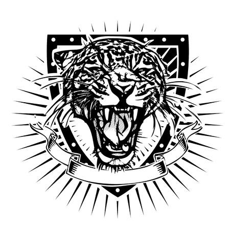 black tiger: jaguar vector illustration on the shield