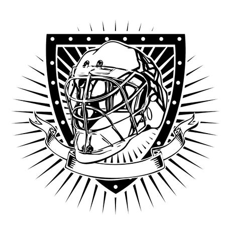 goalkeeper: goalkeeper helmet on the shield