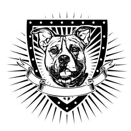 toros bravos: ilustraci�n pit bull en el escudo Vectores