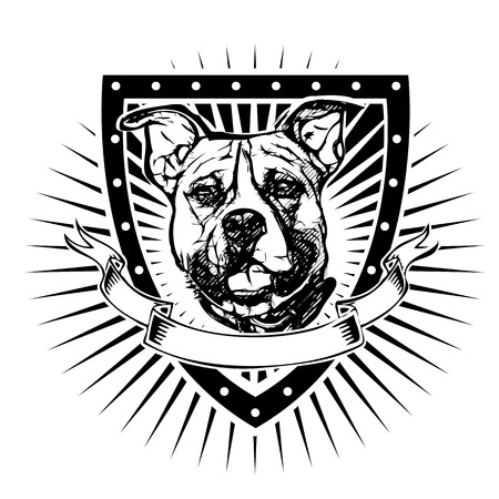 pit bull illustration on the shield Vector