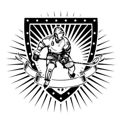 ice hockey player vector illustration on the shield Vector