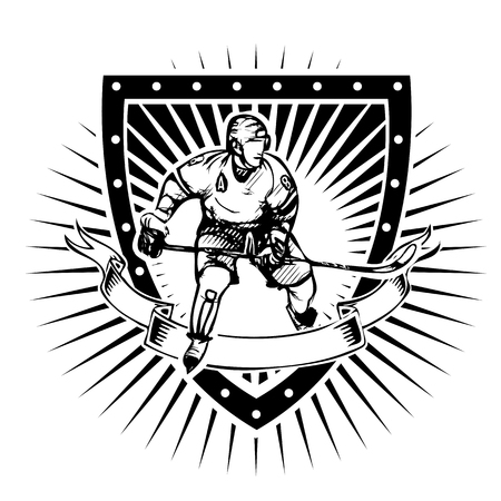 ice hockey player vector illustration on the shield
