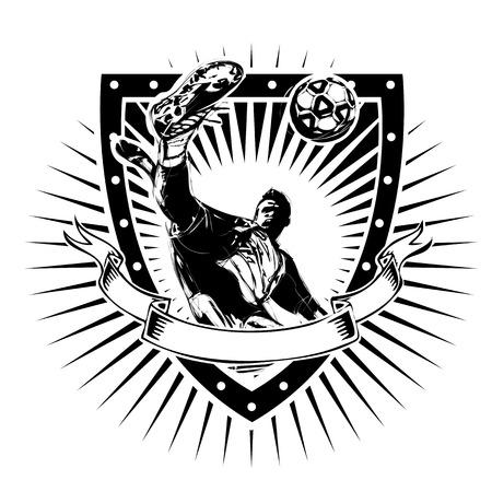 soccer player vector illustration on the shield Illusztráció