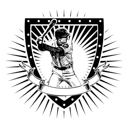 baseball player vector illustration on the shield