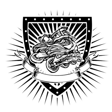 rollerblade: inline vector illustration on the shield
