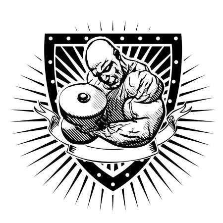 bodybuilder vector illustration on shield