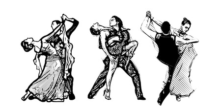 classical dancers vector illustrations