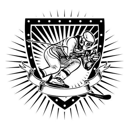 alpine: skier vector illustration on the shield Illustration