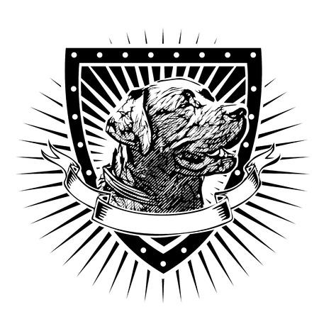 Ilustración vectorial Labrador Retriever en el Escudo