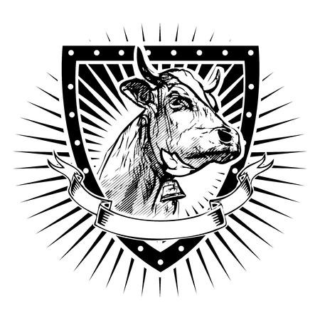 cow vector illustration on the shield Illusztráció