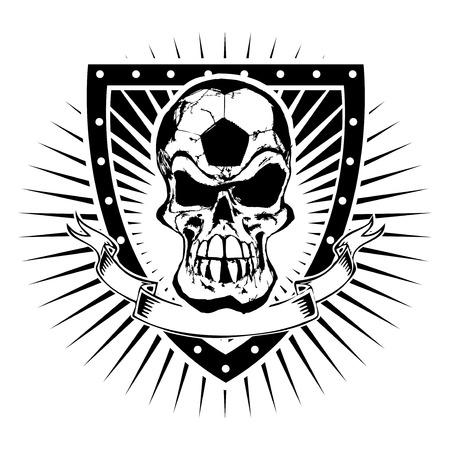 voetbal schedel op het schild Stock Illustratie