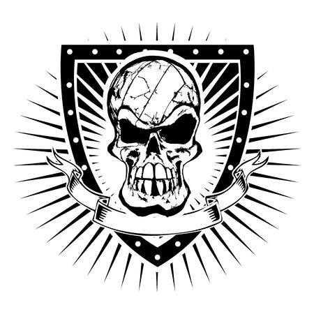 volleyball head illustration on the shield Illusztráció